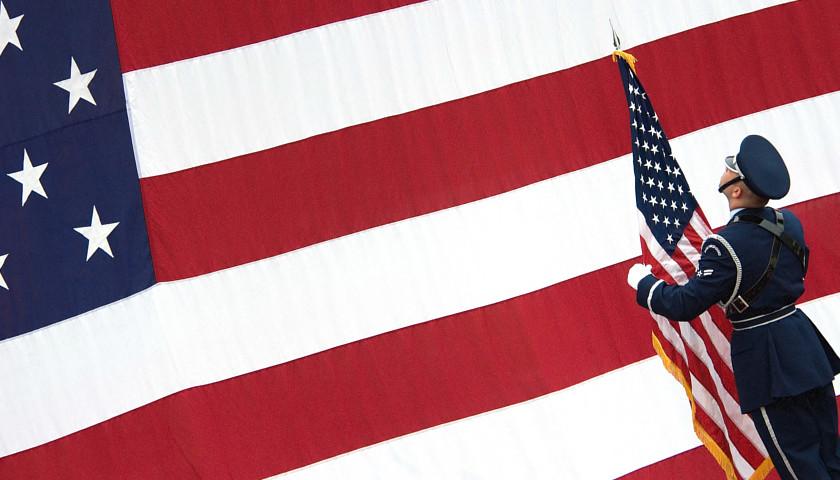US flags w airman