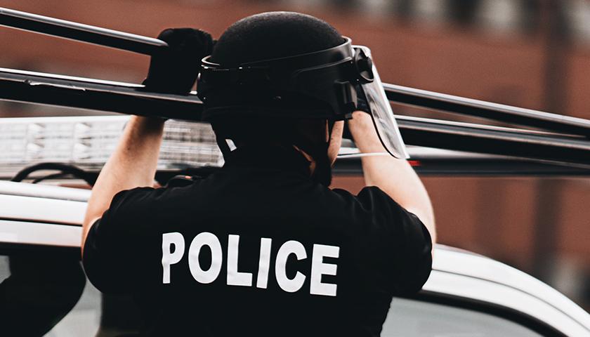 Back of Police officers uniform