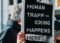 "Sign that says ""Human trafficking happens here"""