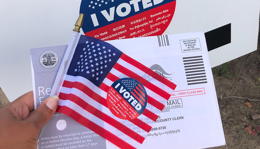 Mail in ballot with U.S. flag