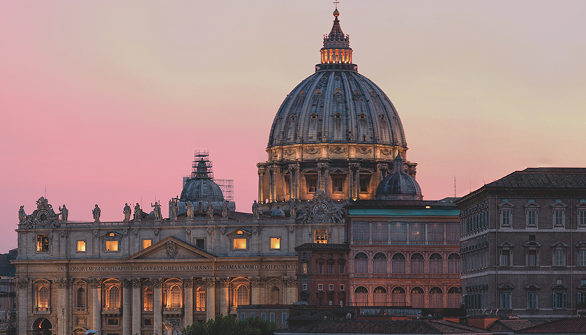 Vatican Saint Peter's Basilica at dusk