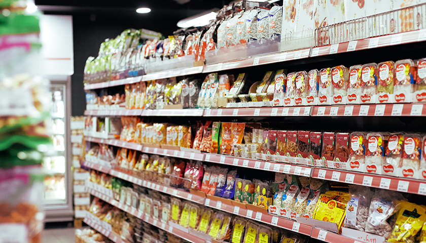 inside of grocery store; close up of products in the aisle