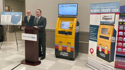 Lt. Governor Jon Husted in Fairfield discussing self-service kiosks